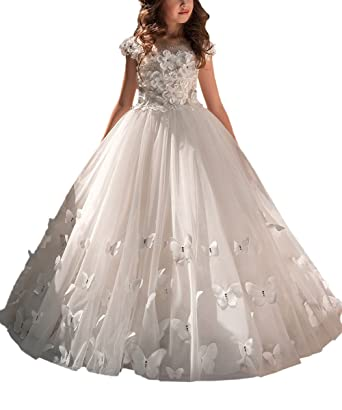 0c560450e Carat Crystal Beads Flower Girl Dresses White Vintage Kids Prom Party Ball  Gowns Ivory Size 2