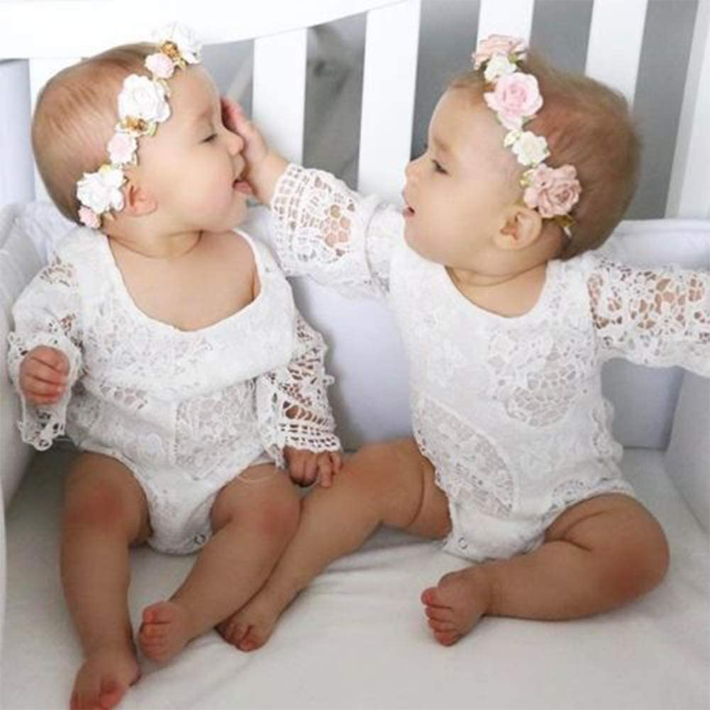 Falonny Newborn Baby Girl Romper Lace Bell Sleeve Floral Bodysuit Jumpsuit Outfits Clothes Summer