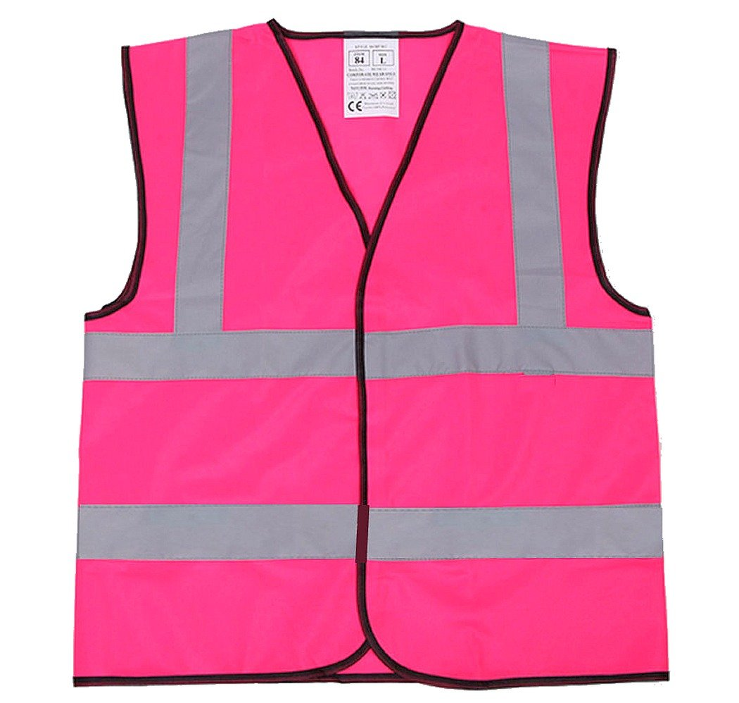 Pink Child's Hi Visibility Safety Vest with Reflective Bands 3 Sizes from 5-11 Years (Med 6-8 Years) Hi Light