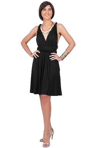 KOH KOH Womens Convertible Wrap Bridesmaid Knee Length Midi Dresses Flowy Dress