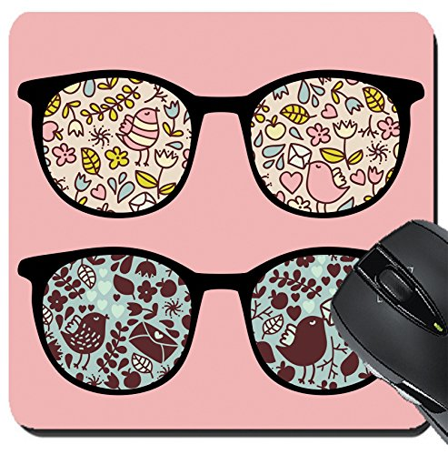MSD Suqare Mousepad 8x8 Inch Mouse Pads/Mat design: 13285346 Retro eyeglasses with nice birds reflection in - Nice Eyeglasses