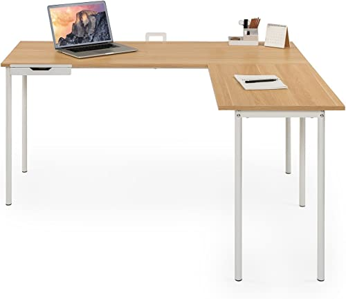 ZINUS Dominic 59 Inch White Metal Corner Desk
