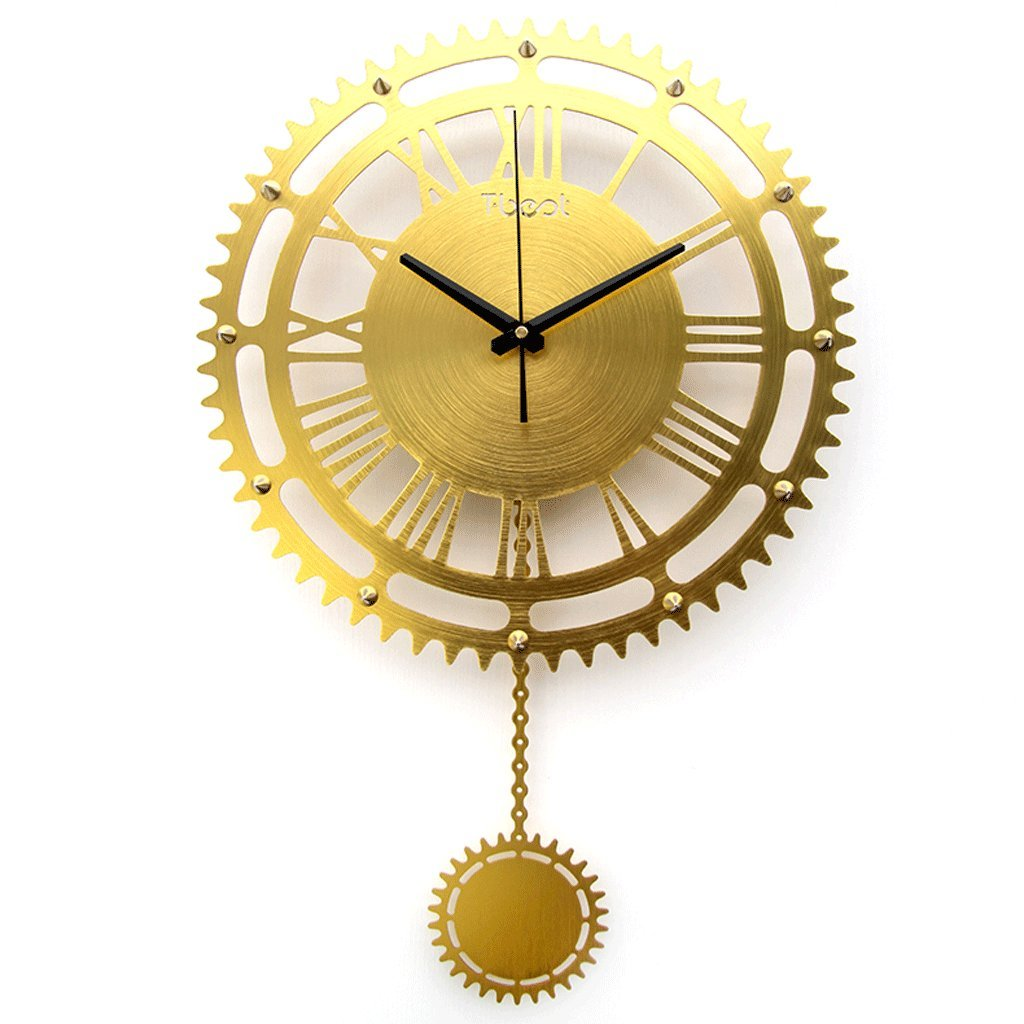 リビングルームウォールクロックミュート装飾時計ファッションクリエイティブギアクロックベッドルームウォールクロックパーソナリティクォーツ時計ウォールクロック (色 : ゴールド) B07FBBY7QCゴールド