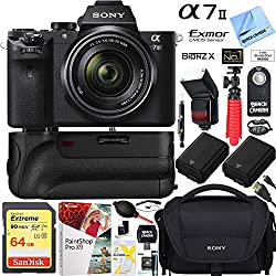 Sony A7 Ii 24.3mp Full-frame Mirrorless Interchangeable Lens Camera With 28-70mm Oss Lens + 64gb Battery Grip & Memory Super Trade-in Bundle
