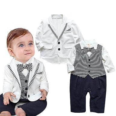 Baby Jungen Strampler Gentleman Smoking Anzug Kleinkind Herbst