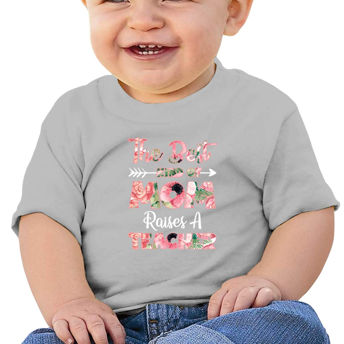 The Best Kind of Mom Raises A Teacher Flower Infan Short Sleeve Shirts Boys
