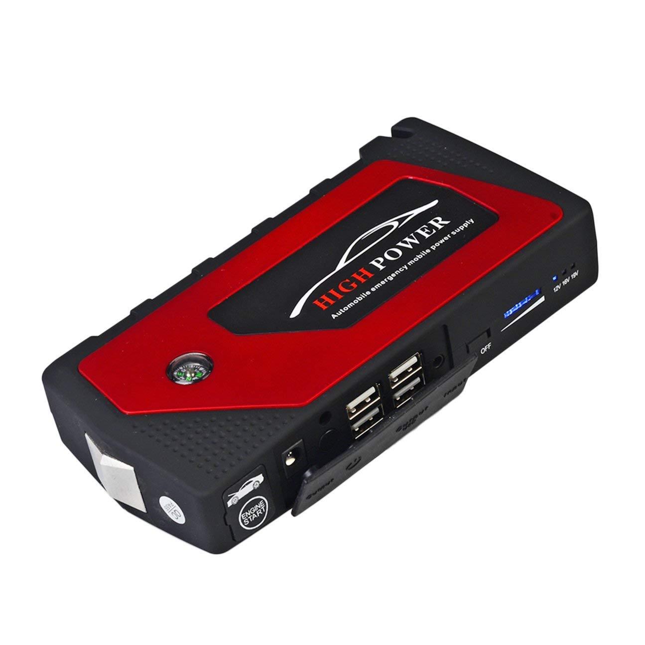 MachinYesell 12V 13600 mAh Multi-Fonction Chargeur De Voiture Batterie Saut Démarreur 4USB LED Lumière Auto Urgence Mobile Power Bank Tool Kit Rouge