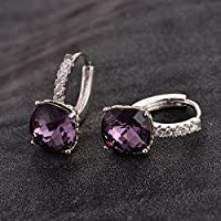 Women Fashion 925 Silver Cushion Cut Amethyst Dangle Huggie Earrings Jewelry New