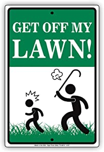 Yilooom Get Off My Lawn Garden Old Man Property Home Notice Aluminum Metal Sign