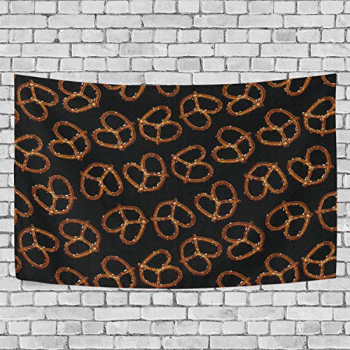DOPKEEP All Over Pretzels On Black Tapestry Tapestries Decor Wall Art for Home Bedroom Living Room Dorm 90x60 Inches