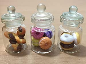 3pc Miniature Food Chocolate Cookie Cake Dollhouse Donut Candy in Clear Glass Mini Bottle Fruit Food #MF056