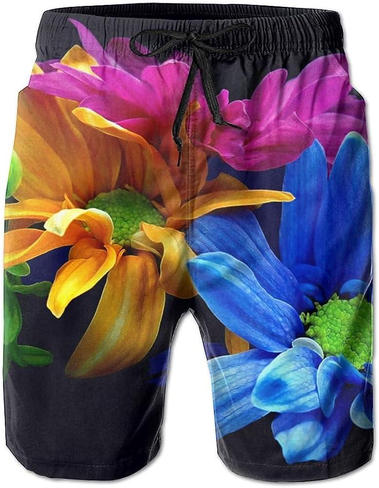 LUASD Mens Earth Flower Quick Drying Ultra Light Short Pants Swim Trunks