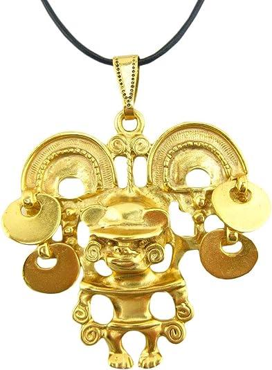 ACROSS THE PUDDLE 24k GP Pre-Columbian Long Life Charm Spiral Dangle Earrings