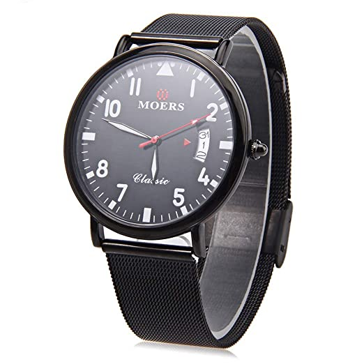 Leopardo tienda moers cb6005 macho reloj de cuarzo banda de malla de acero inoxidable reloj de pulsera ultrafino Dial Calendario Negro: Amazon.es: Relojes