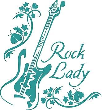 "Tattoo Guitarra Rock Lady Texto vinilo decorativo pared pegatinas de pared para salón "","