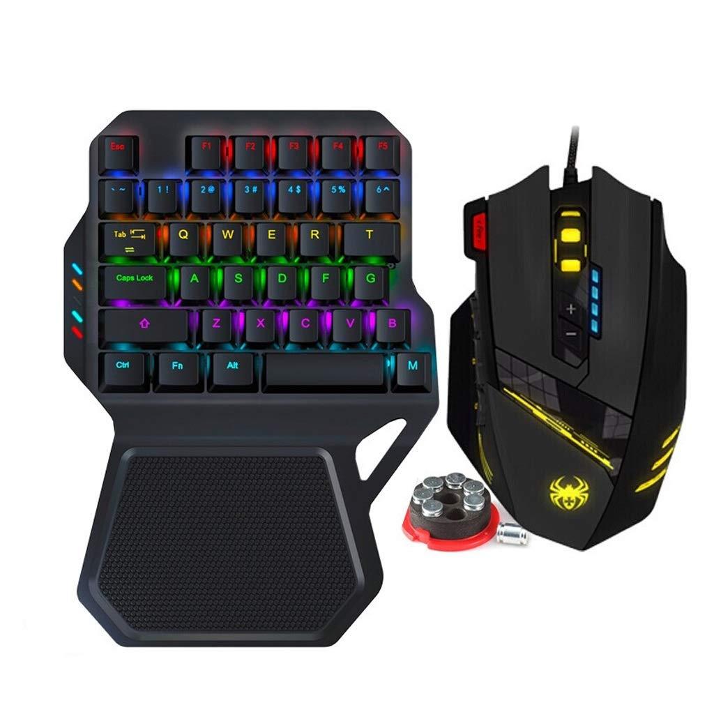 片手メカニカルキーボードおよびマウスセット、Esportsゲーム、有線ノートブック、外付けコンピュータのIPAD、携帯電話のBluetooth(コンピュータ版) (Color : C12 pressure gun macro mouse)   B07PJTN35P