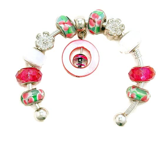 4ef099dd4 Amazon.com: Hot Pink and White Floral Design European Murano Glass ...