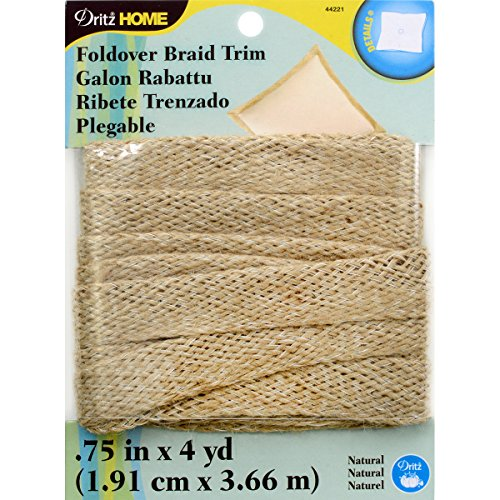 Jute Trim (Dritz Home Jute Foldover Trim-Natural Jute Foldover Trim, Natural-3/4 by 4 Yds)