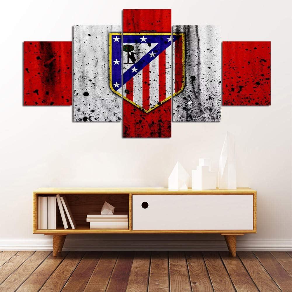 5 Pieza Atletico Madrid Football Club Logo Lienzo Pintura De Arte De Pared 12 Impresi/ón En Lienzo Deportes Arte Moderno para Decoraci/ón del Hogar Regalo-100x55cm