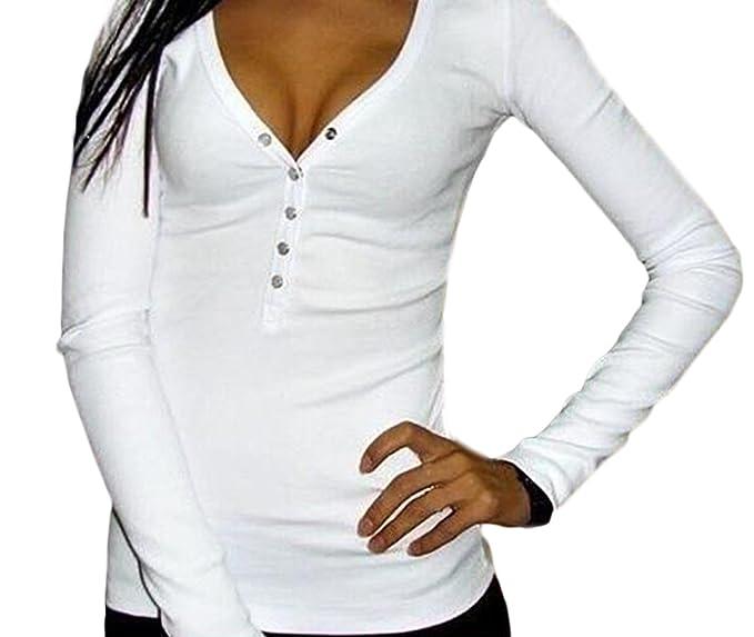 Mujer Camisetas Manga Larga Basicas Elegantes Tops Blusa Escotadas Basic Ropa V Cuello con Botones Color