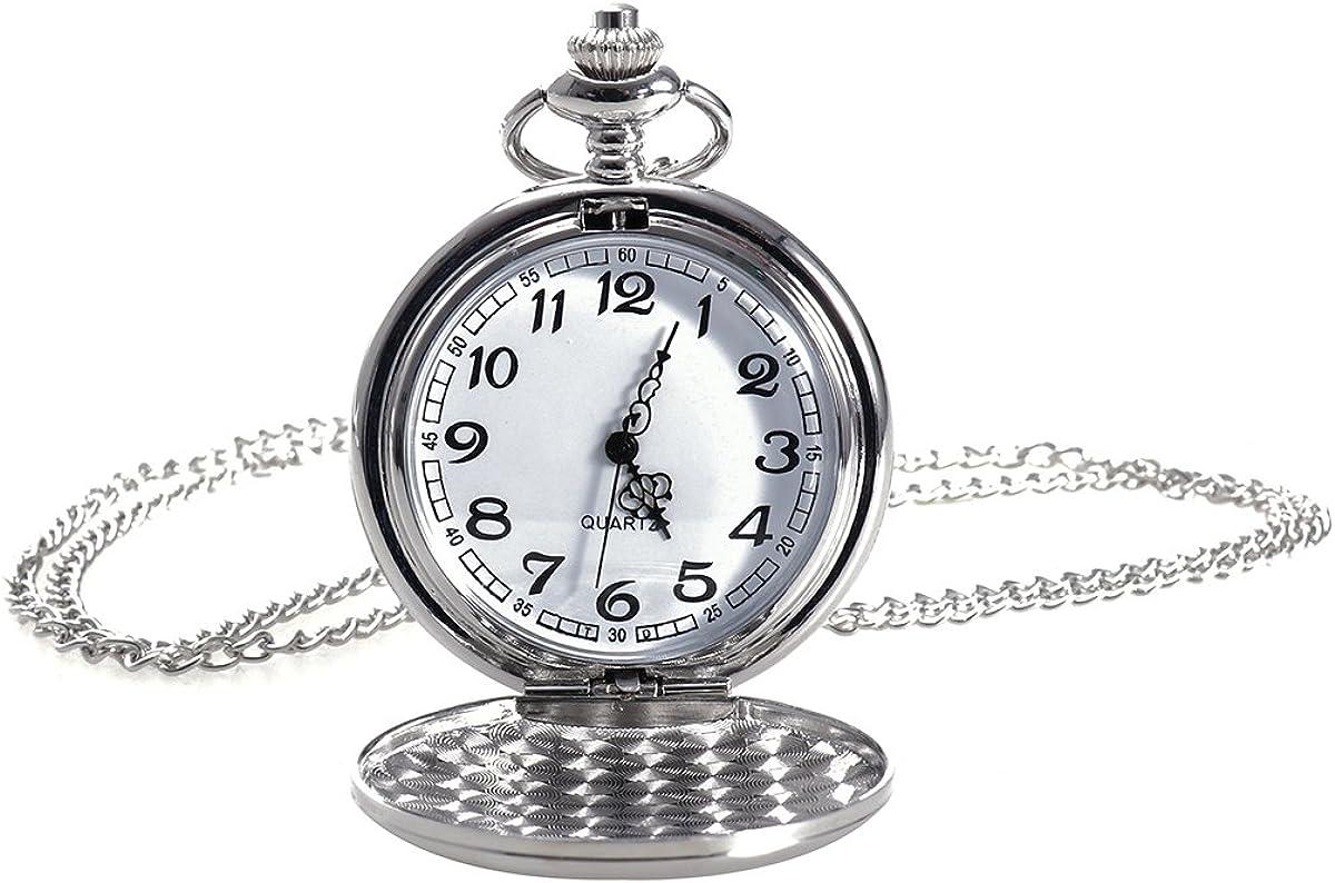 NICERIO Reloj de Bolsillo Vintage, Reloj de Cuarzo Unisex Reloj de Bolsillo mecánico con Cadena de Collar para Hombres Mujeres (Blanco): Amazon.es: Relojes