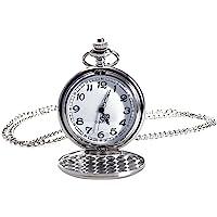 NICERIO Reloj de Bolsillo Vintage, Reloj de Cuarzo Unisex Reloj de Bolsillo mecánico con Cadena de Collar para Hombres…