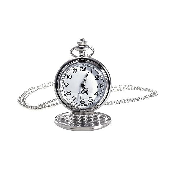 NICERIO Reloj de bolsillo vintage, reloj de cuarzo unisex Reloj de bolsillo mecánico con cadena