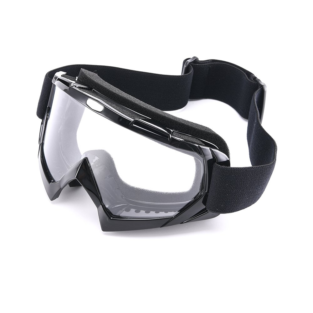 MotorFansClub Motocross UV Protective Wind Resistance Riding Ski Bike Eyewear Glasses Sports Outdoor ATV MX Off-Road Goggles(Black Frame Clear)