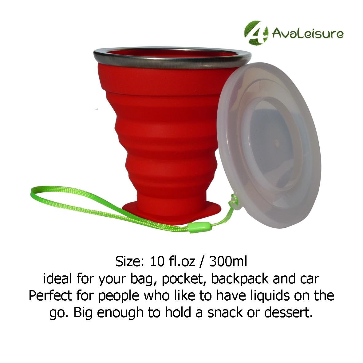 AVALEISURE COLLAPSIBLE SILICONE TRAVEL CUP- the Genuine 10oz Foldable Drinking Mug with Lid, BPA Free, Water, Coffee, Tea & Snacks for Hiking, Camping, Picnic & Commuting to Work by AVALEISURE (Image #5)