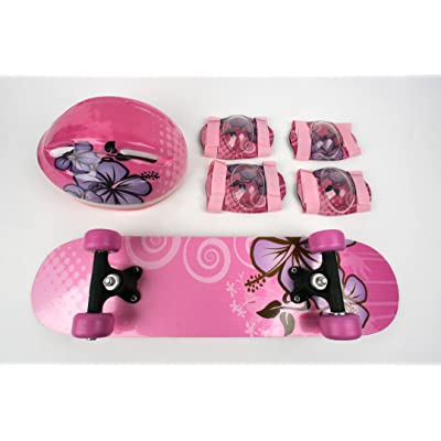 TaoTao Manufacturer Kids Skateboard & Protect Gear Combo/Pink Aloha - CPSC Standard : Sports & Outdoors