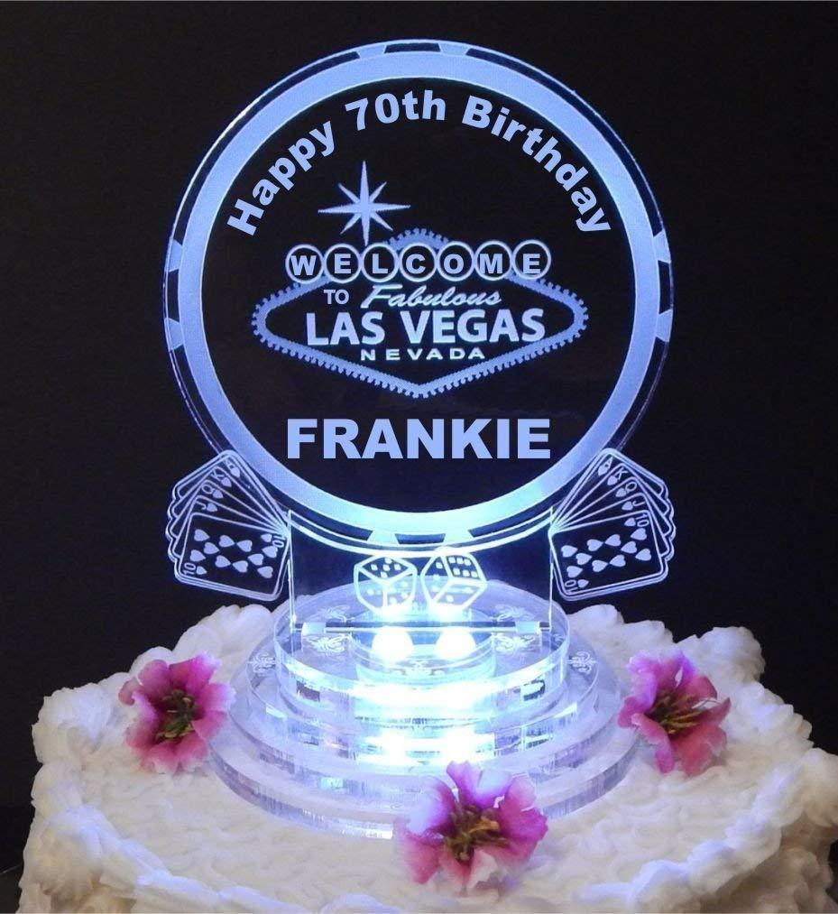 Amazon Las Vegas Lighted Birthday Cake Topper Acrylic Top Personalized Handmade