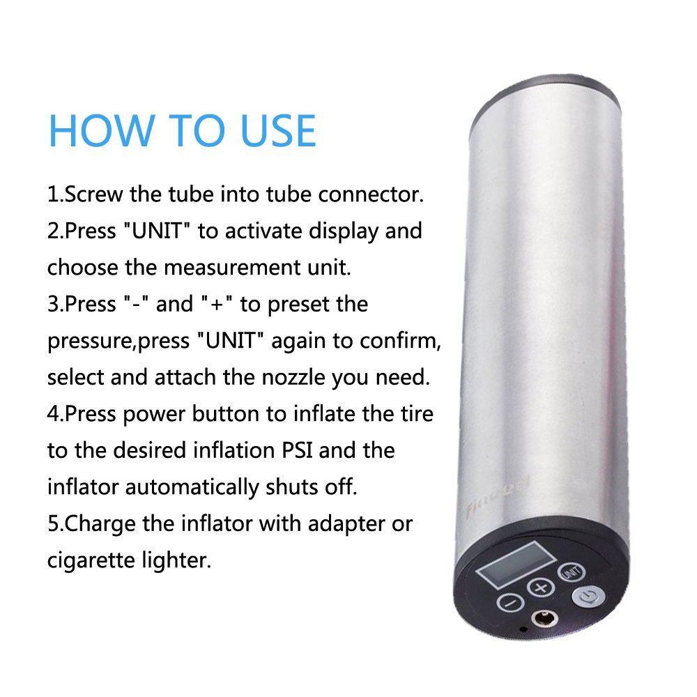 Fineed Hand Held 12v Electric Mini Air Inflator With Lightweight Battery Charger Circuit Diagram Auto Cut Off 150psi Rechargeable Digital Display Tire Pressure Monitor And Preset Automotive