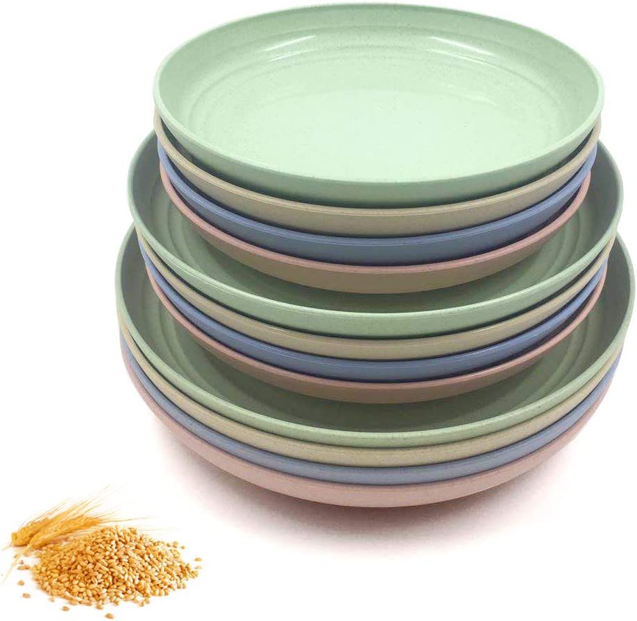 """BangBoom 12 Pack New Wheat Straw Plates Set, Unbreakable Lightweight Dinner Dishes, Microwave Safe Dinner Plate, Perfect for Salad, Pasta, Steak,Fruit(7.8"""", 8.8"""", 9.8"""") (12PCS)"""