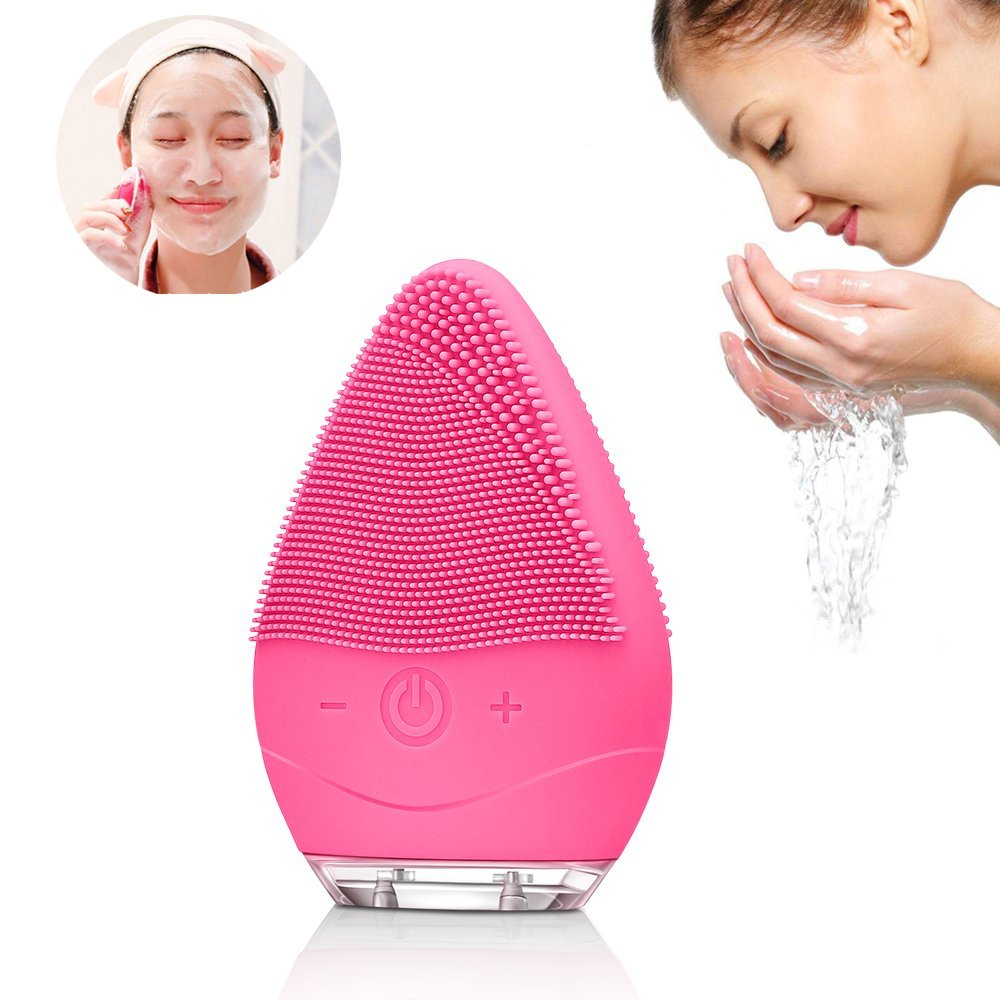 Brosse Nettoyante Visage Silicone Electrique - Facial Cleansing Exfoliants Pour le Visage et Massage Système de Nettoyage Rechargeable (Rose) GOODSKY