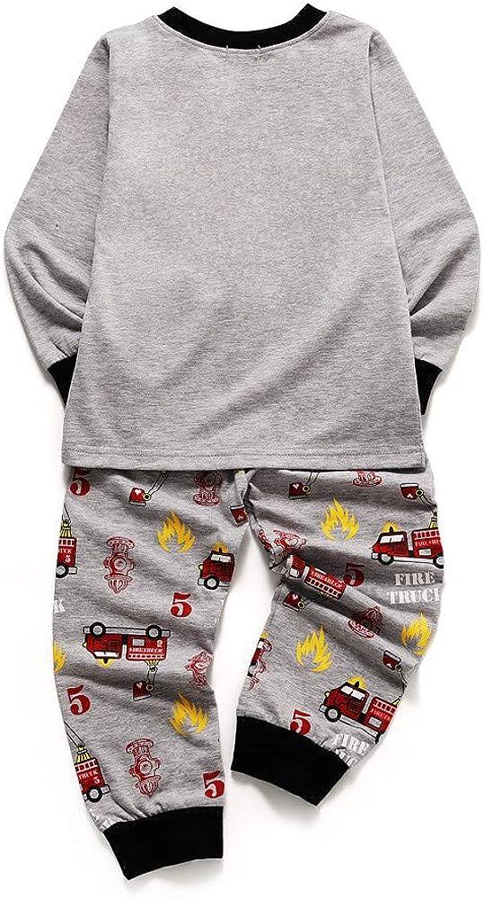 KUKICAT Pyjamas Enfants V/êtements Imprim/és Service /à Domicile de Camions de Pompiers Imprim/és /à Manches Longues Sleepwear