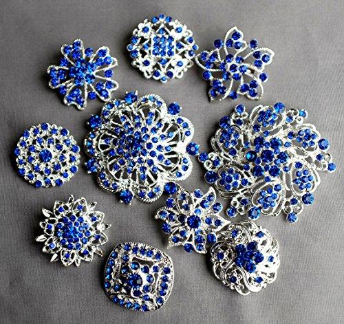 10 Royal Blue Dark Blue Assorted Crystal Brooch Rhinestone Brooch Set Crystal Wedding Brooch Bouquet DIY Kit US Seller BT989