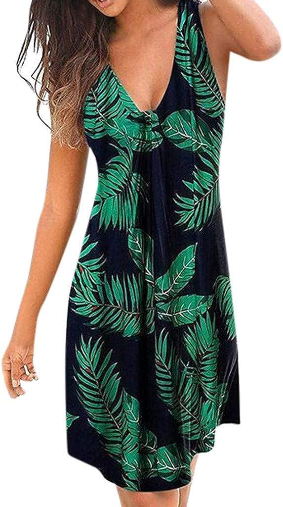 Auifor Vestido de Fiesta Flojo Flojo de la Ropa de Playa de la impresión Floral del Verano de Las señoras de