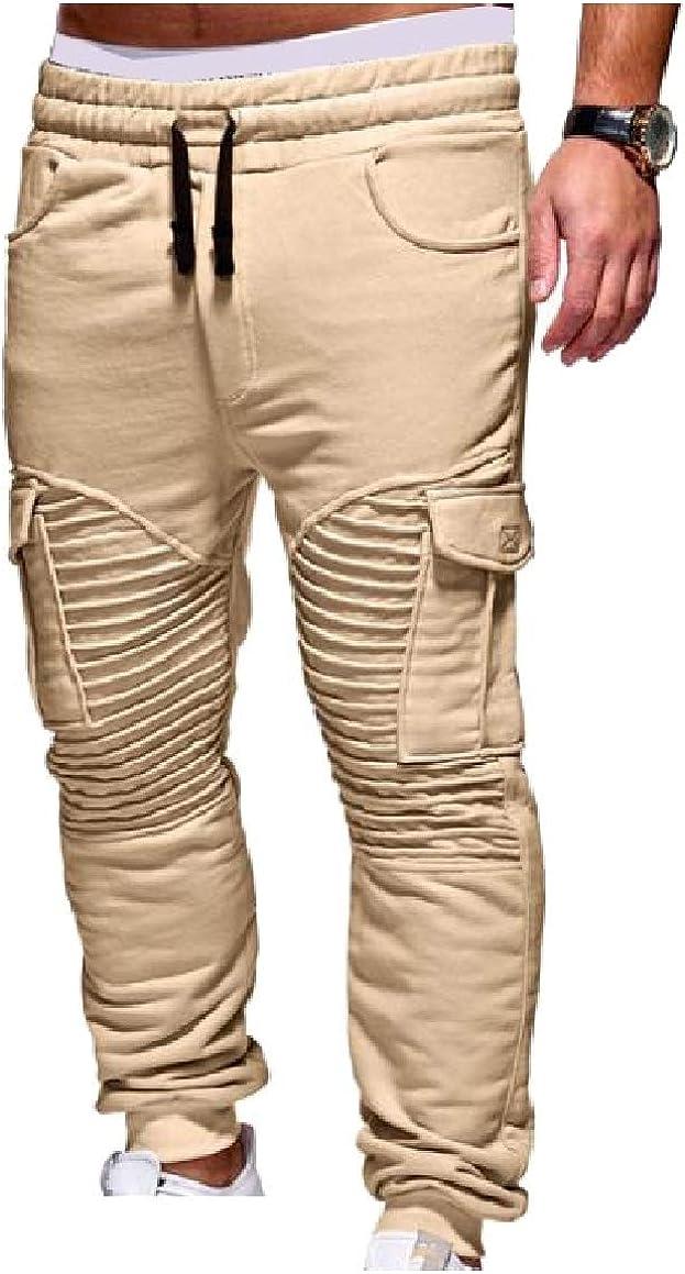 Abetteric Mens Waist Tie Shirring Stitching Pockets Muscle Chic Soft Sweatpants