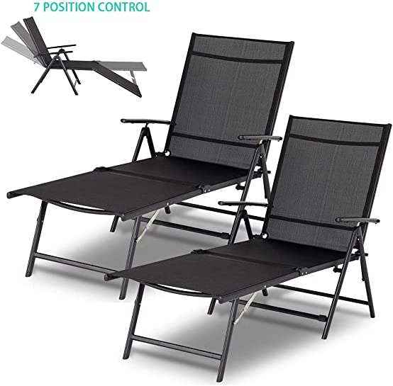 Esright Outdoor Chaise Lounge Chair, Set of 2 Folding Textiline Reclining Lounge Chair for Beach Yard Pool Patio with 7 Back 2 Leg Adjustable Positions Set of 2,Black