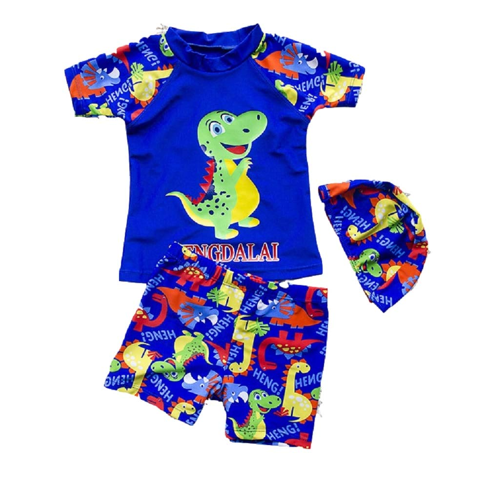 Yunqir Kids Wetsuit 3 Pcs/Set Children's Short Spilt Swimsuits Kids Dinosaur Patterns Sunscreen Wetsuit for Water Sports(Sapphire-Blue)