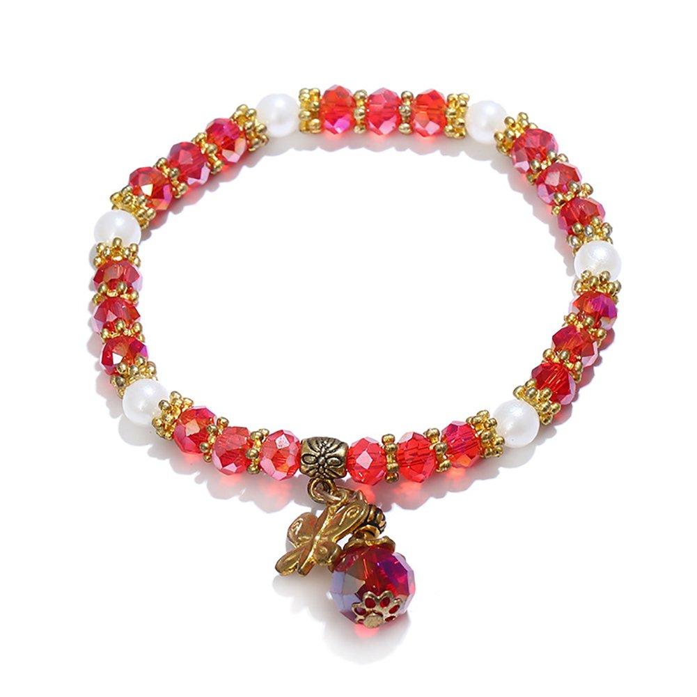 Wintefei Fashion Butterfly Pendant Beads Bracelet Women Bangle Jewelry Party Gift - Red