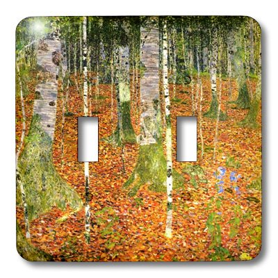3dRose LLC lsp_109861_2 Klimts Painting Farmhouse with Birch Trees Double Toggle Switch