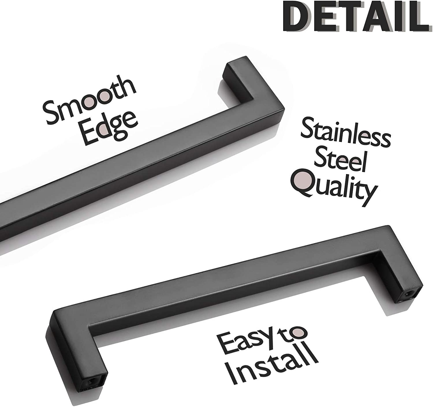 256mm Width 1//2 6 Pack Probrico Cabinet Handle Sets Flat Black Stainless Steel Square T Bar Kitchen Cupboard Cabinet Pulls Hole Centers 10