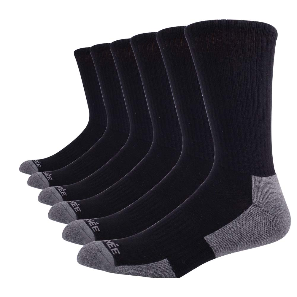 JOYNÉE Men's 3 6 Pack Athletic Performance Cotton Cushion Crew Running Socks
