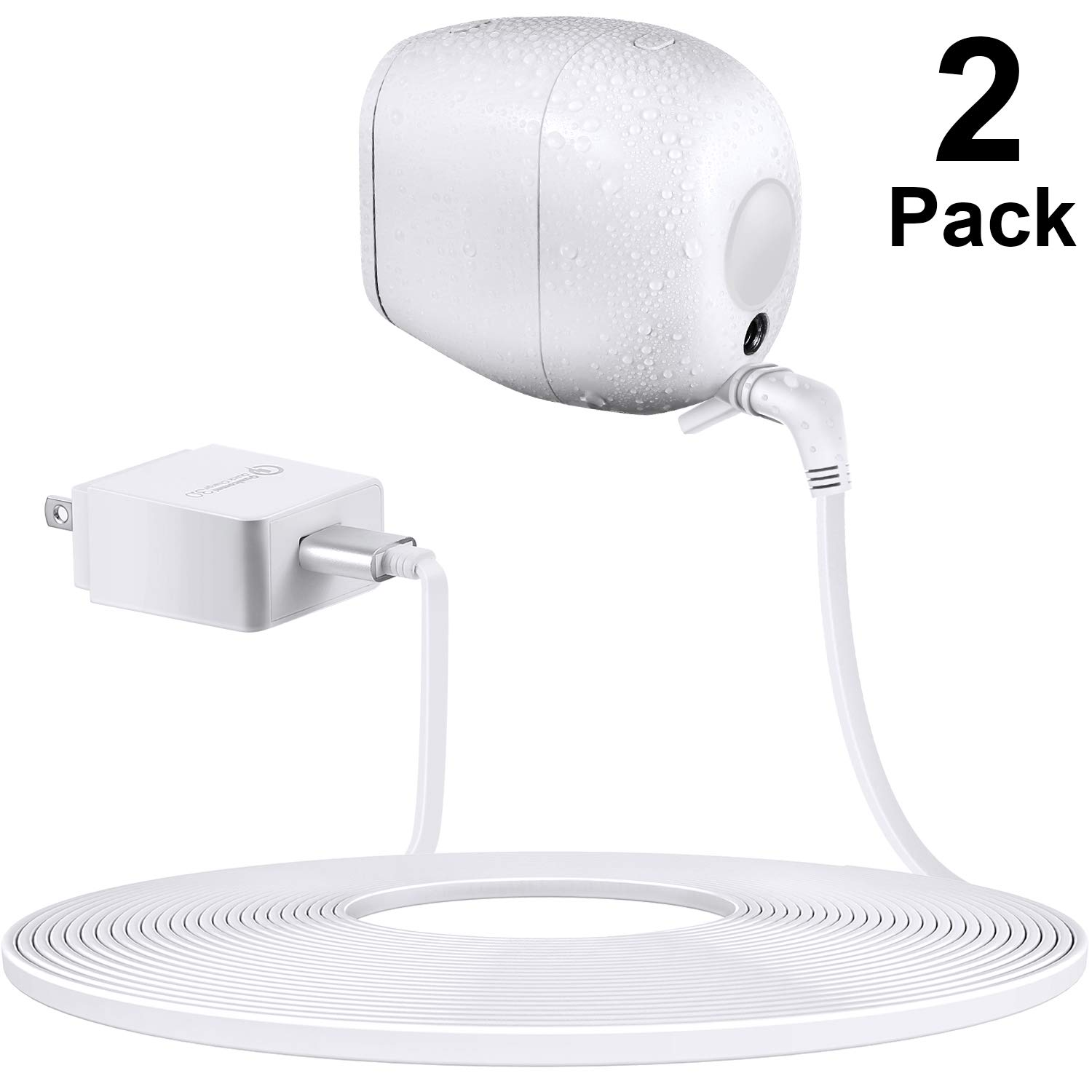 Power Adapter Compatible with Arlo Pro and Arlo Pro 2, Quick Charge 3.0 Charger Adapter with 23 ft/ 7 m Weatherproof Outdoor Cable Continuously Supply Power to Your Arlo Camera (2 Packs) by Frienda