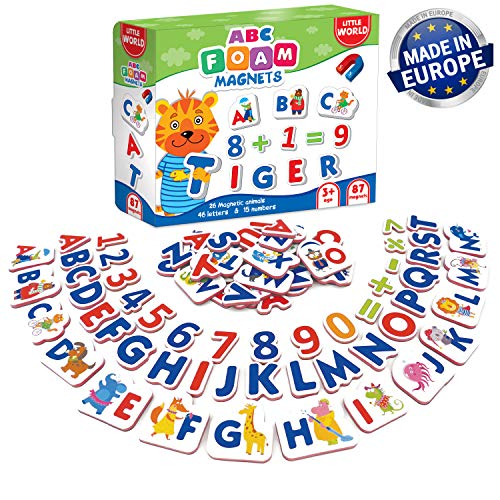 Little World 87 Foam ABC Magnets and Alphabet for Toddlers, Including Large 26 Magnetic Animals, 61 Letters & Numbers for Kids Age 3+. Best Educational Set for Children