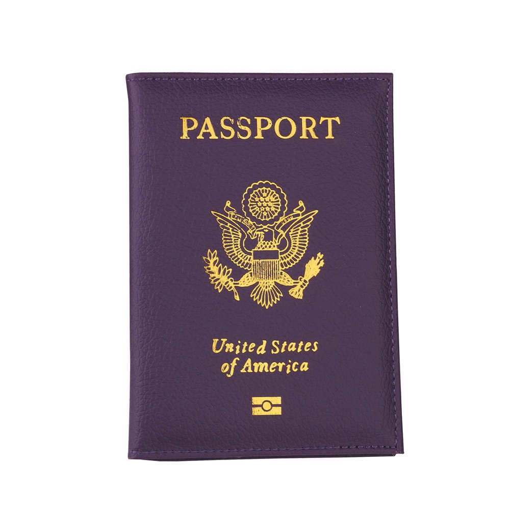 Travel USA Passport Cover Women Passport Holder Business Card for Passports Case Passport Wallet (Purple)