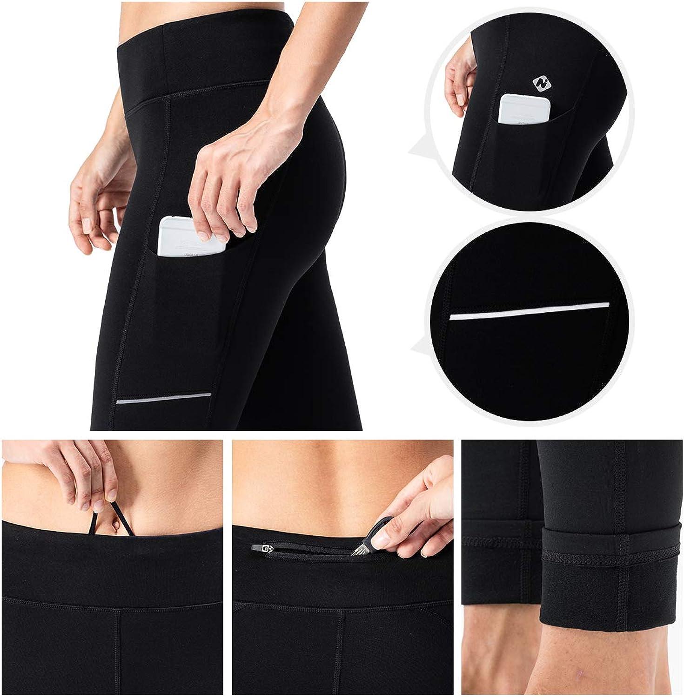 NAVISKIN Womens Fleece Lined Thermal Tights Running Yoga Leggings Winter Outdoor Pants Zip Pocket