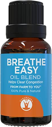 GuruNanda Breathe Easy Essential Oil Blend - for Congestion - Eucalyptus - Peppermint - Basil - Rosemary - Tea Tree - Natura