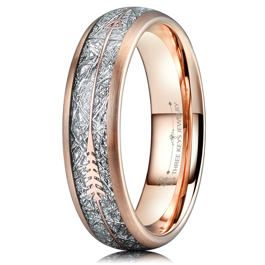 Three Keys Jewelry 6mm 8mm Imitated Meteorite Arrows Inlay Rose Gold Tungsten Wedding Ring Hunting Band TR083-VARIATION